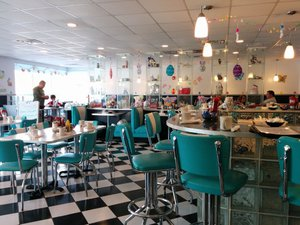 the interior of Lola's Diner